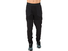 Front Top view of METARUN PANT, PERFORMANCE BLACK/PERFORMANCE BLACK