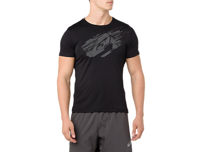 Men's Silver Graphic Short Sleeve T Shirt | Performance