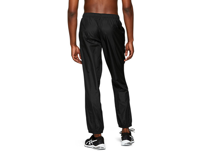 Back view of SILVER WOVEN PANT, PERFORMANCE BLACK