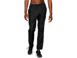 Front Top view of SILVER WOVEN PANT, PERFORMANCE BLACK