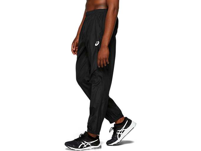 Side view of SILVER WOVEN PANT, PERFORMANCE BLACK