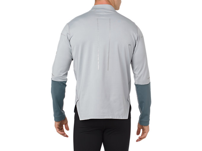 Back view of LITE-SHOW WINTER LS 1/2 ZIP TOP, MID GREY/GLACIER GREY