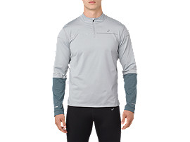 LITE-SHOW WINTER LS 1/2 ZIP TOP, MID GREY/GLACIER GREY