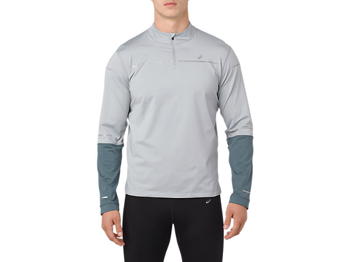 Front Top view of LITE-SHOW WINTER LS 1/2 ZIP TOP, MID GREY/GLACIER GREY
