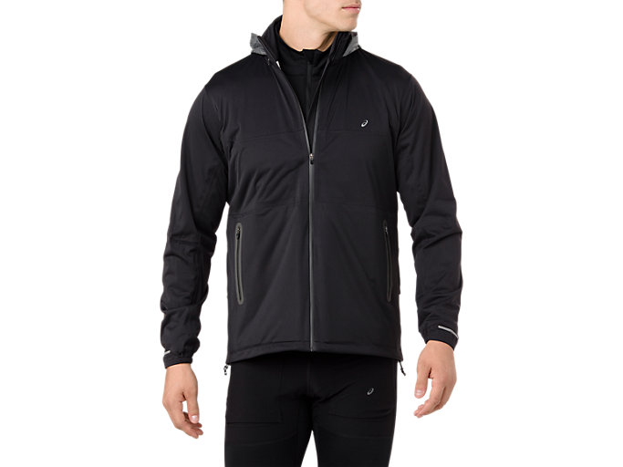 Front Top view of SYSTEM JACKET, PERFORMANCE BLACK