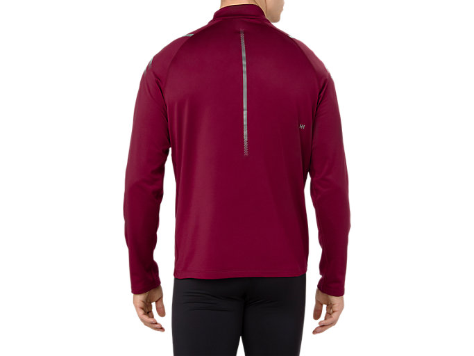 Back view of ICON WINTER LS 1/2 ZIP TOP, CORDOVAN/PERFORMANCE BLACK