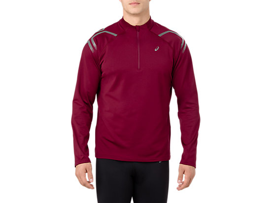 ICON WINTER LS 1/2 ZIP TOP, CORDOVAN/PERFORMANCE BLACK