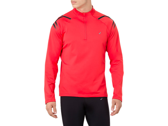 ICON WINTER LS 1/2 ZIP TOP, RED ALERT/PERFORMANCE BLACK