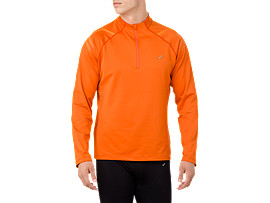 Front Top view of ICON WINTER LS 1/2 ZIP TOP, LAVA ORANGE/AMBER