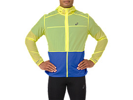 Front Top view of PACKABLE JACKET, LEMON SPARK/ILLUSION BLUE