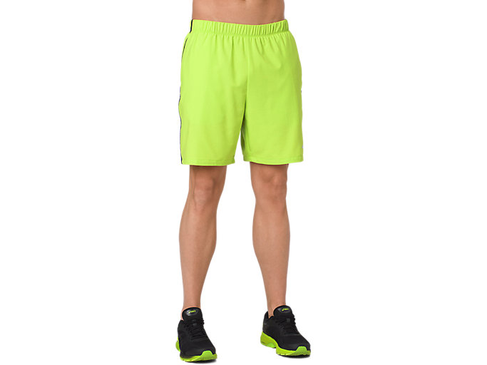 Front Top view of 7IN SHORT, NEON LIME HEATHER