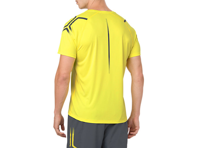 Back view of ICON SS TOP, LEMON SPARK/DARK GREY