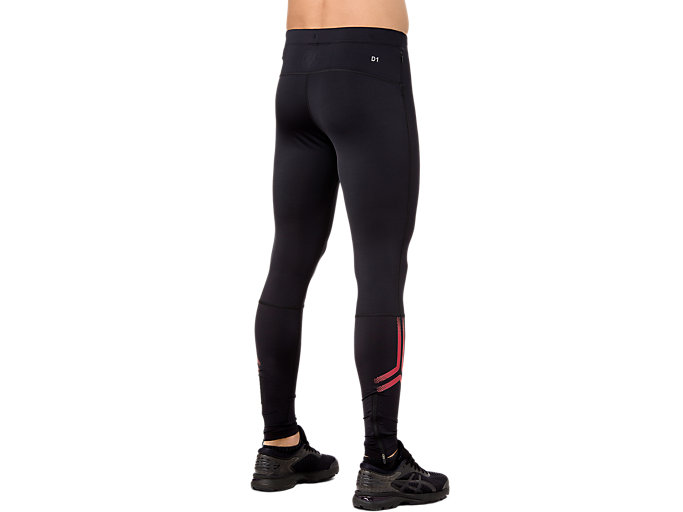 Back view of ICON TIGHT, PERFORMANCE BLACK/RED ALERT