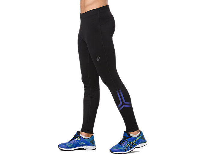 Side view of ICON TIGHT, PERFORMANCE BLACK/ILLUSION BLUE