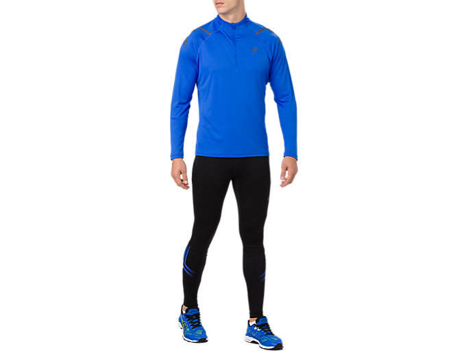 Front Top view of ICON TIGHT, PERFORMANCE BLACK/ILLUSION BLUE