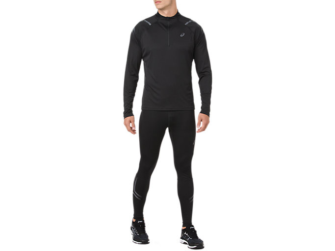 Front Top view of ICON TIGHT, PERFORMANCE BLACK/DARK GREY