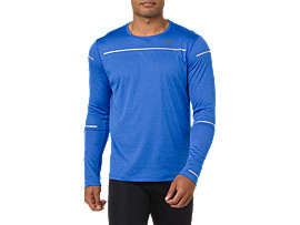 Front Top view of Lite-Show Langarm-Running Top für Herren, ILLUSION BLUE