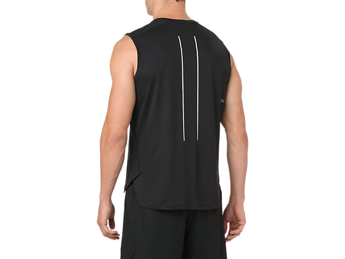 Back view of LITE-SHOW SLEEVELESS, PERFORMANCE BLACK