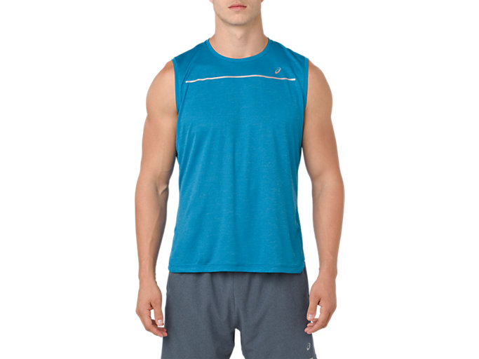 Front Top view of LITE-SHOW SLEEVELESS, RACE BLUE