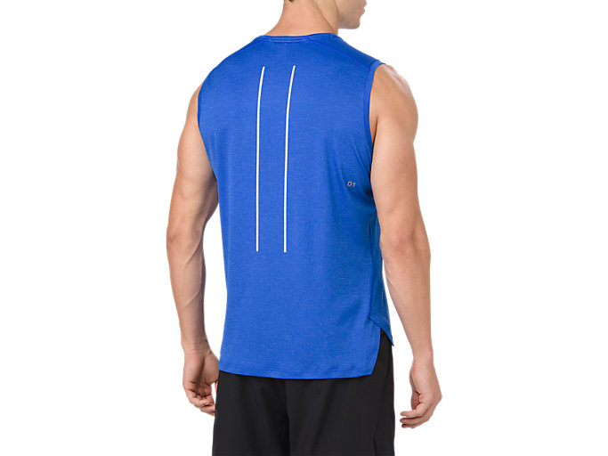 Back view of LITE-SHOW SLEEVELESS, ILLUSION BLUE