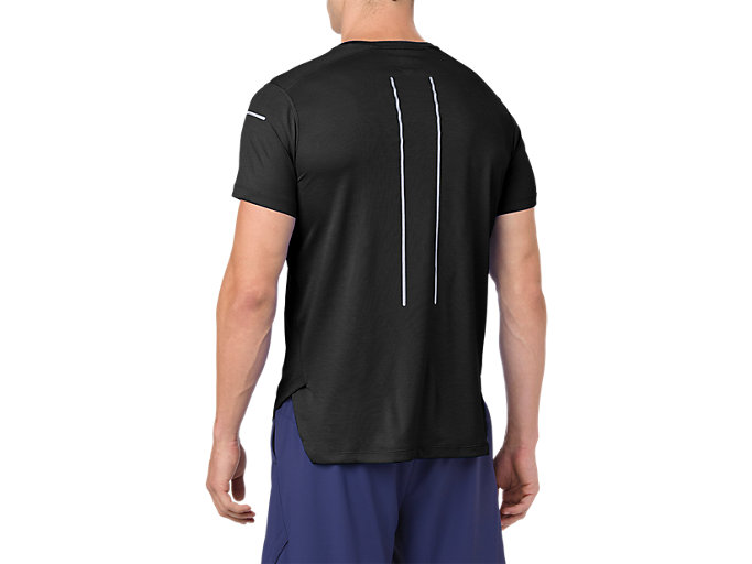 Back view of Camiseta de running de manga corta Lite-show para hombre, PERFORMANCE BLACK