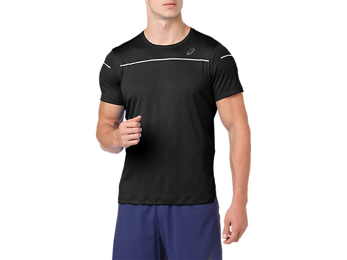 Front Top view of Camiseta de running de manga corta Lite-show para hombre, PERFORMANCE BLACK
