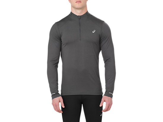 LS 1/2 ZIP JERSEY, DARK GREY HEATHER