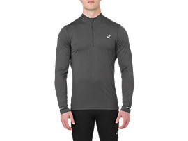 Felpa da corsa a manica lunga da uomo, DARK GREY HEATHER