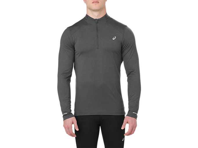 Alternative image view of LS 1/2 ZIP JERSEY, DARK GREY HEATHER