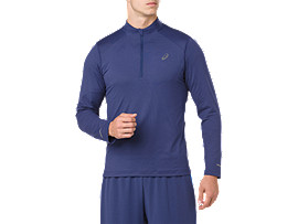 Front Top view of LS 1/2 ZIP JERSEY, INDIGO BLUE