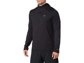 Front Top view of Sudadera con capucha de running y manga larga para hombre, PERFORMANCE BLACK