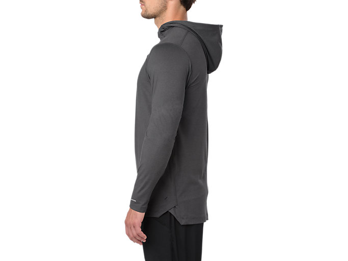 Side view of LS HOODIE, SP DARK GREY HEATHER