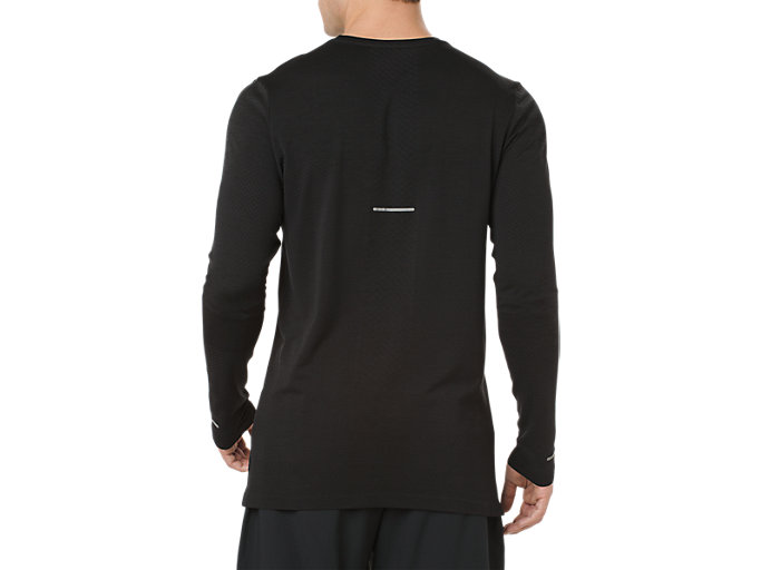 Back view of SEAMLESS LS, PERFORMANCE BLACK