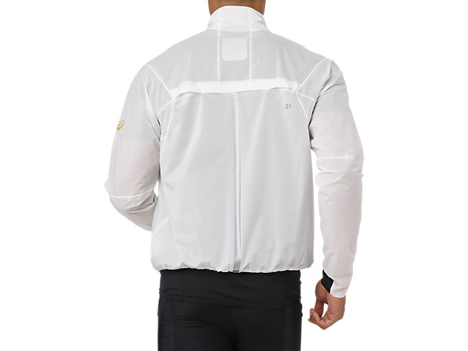 Back view of METARUN JACKET, BRILLIANT WHITE