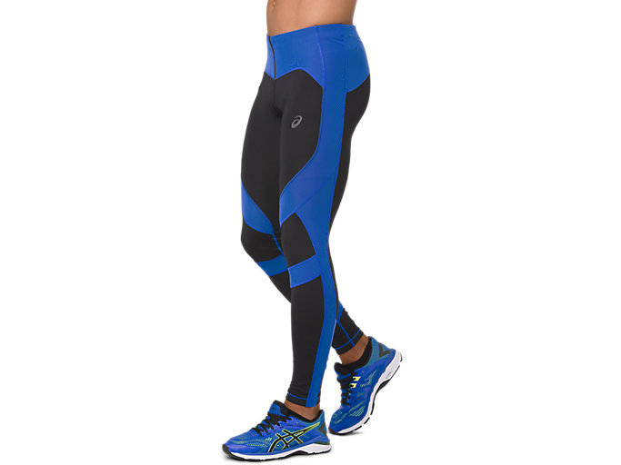 Side view of LEG BALANCE 2 TIGHT, PERFORMANCE BLACK/ILLUSION BLUE