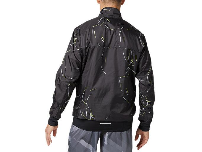 Back view of パッカブルプルオーバージャケット, パフォーマンスブラック×サワーユズ