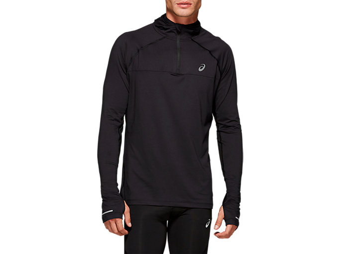 Front Top view of THERMOPOLIS PLUS HOODIE, PERFORMANCE BLACK