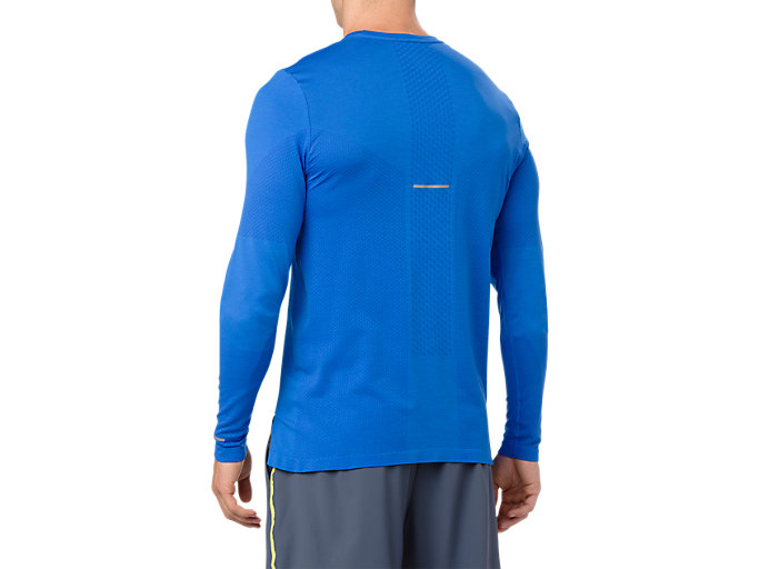 Back view of SEAMLESS LS BM, ILLUSION BLUE