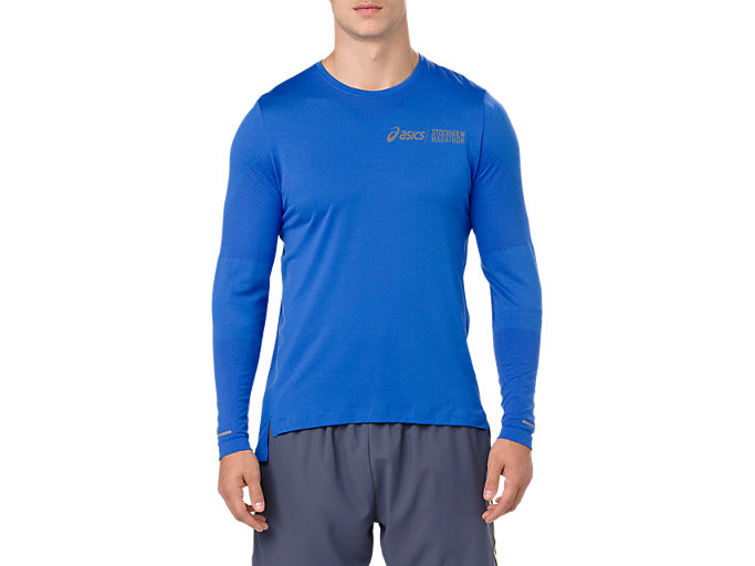 Front Top view of SEAMLESS LS ST, ILLUSION BLUE