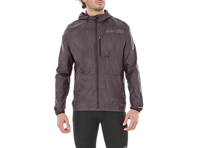 Front Top view of PACKABLE JACKET ST, DARK GREY/PERFORMANCE BLACK