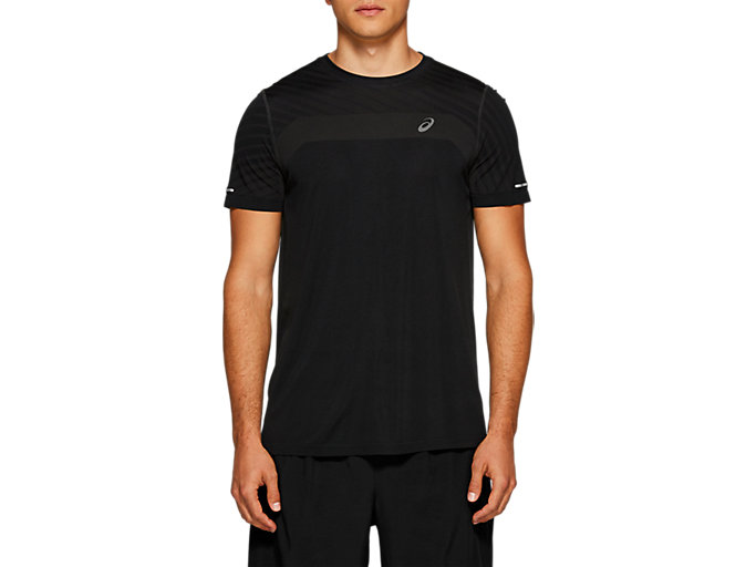 Men's SEAMLESS SS TEXTURE   PERFORMANCE BLACK   Fitness