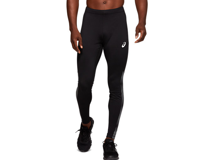 Front Top view of SPORT REFLECTIVE WINTER TIGHT, PERFORMANCE BLACK/SILVER REFLECTIVE AOP