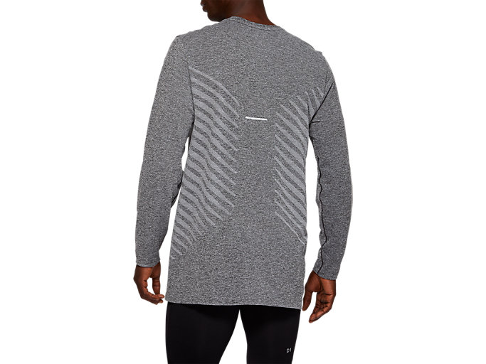 Back view of SEAMLESS LS TOP, DARK GREY HEATHER