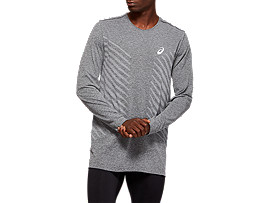 Front Top view of SEAMLESS LS TOP, DARK GREY HEATHER