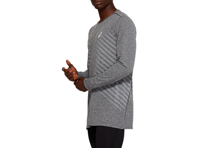 Side view of SEAMLESS LS TOP, DARK GREY HEATHER