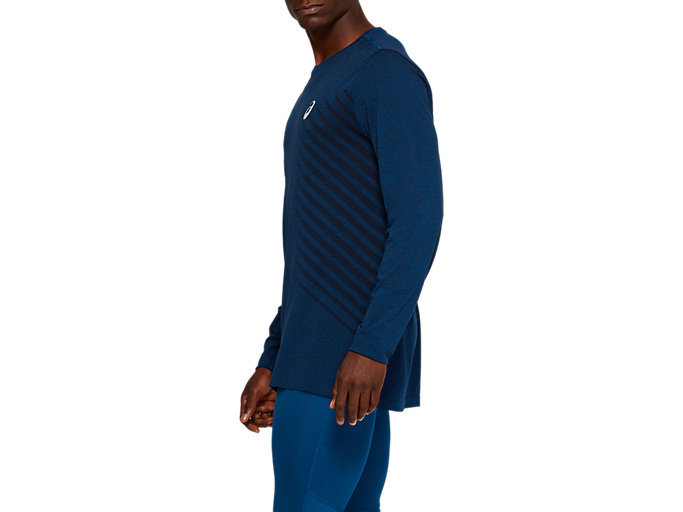 Side view of SEAMLESS LS TOP, MAKO BLUE HEATHER