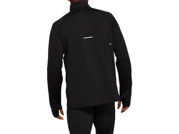 Back view of WINTER 1/2 ZIP TOP, PERFORMANCE BLACK