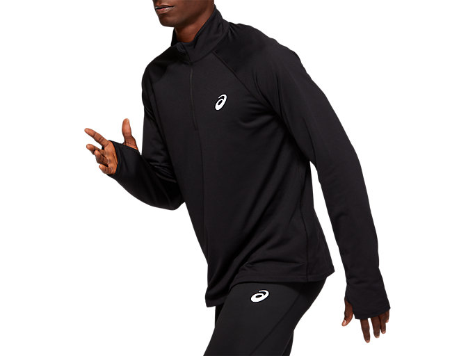 Side view of WINTER 1/2 ZIP TOP, PERFORMANCE BLACK