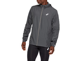 Front Top view of RUN HOOD JACKET, DARK GREY