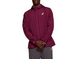 Front Top view of RUN HOOD JACKET, ROSELLE